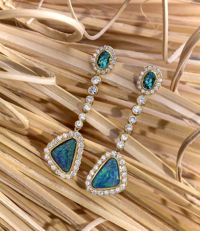 Opal, Tourmaline And Diamond Dangle Earring In 18Kt Gold