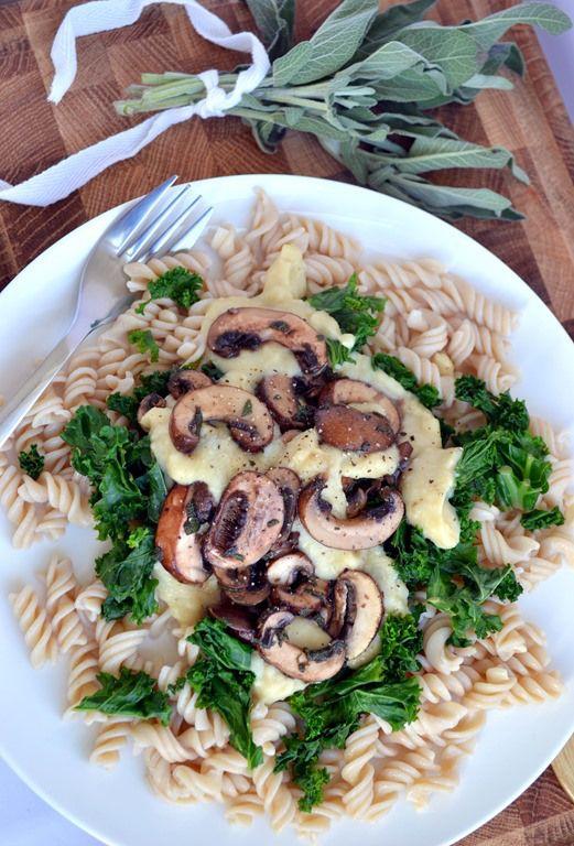 Creamy White Bean Pasta Sauce with Mushrooms & Sage (vegan)