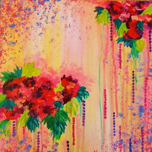 Strawberry confetti painting abstract acrylic floral for Pretty acrylic paintings