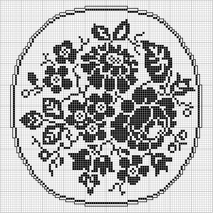 Oval 53 | Free chart for cross-stitch, filet crochet | gancedo.eu