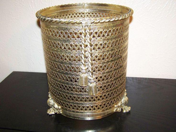 Hollywood Regency Decorative Filigree Waste Basket Metal