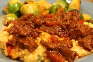 Spicy Stewed Beef and Cheddar Grits from Meals by Misty