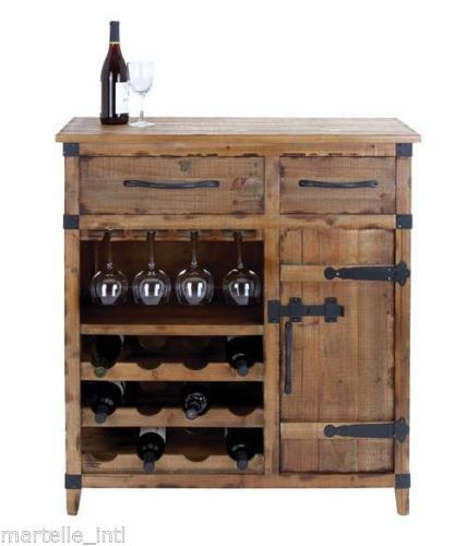 French Country Wine Cabinet Chest Rustic Wood Bar Furniture Free Ship
