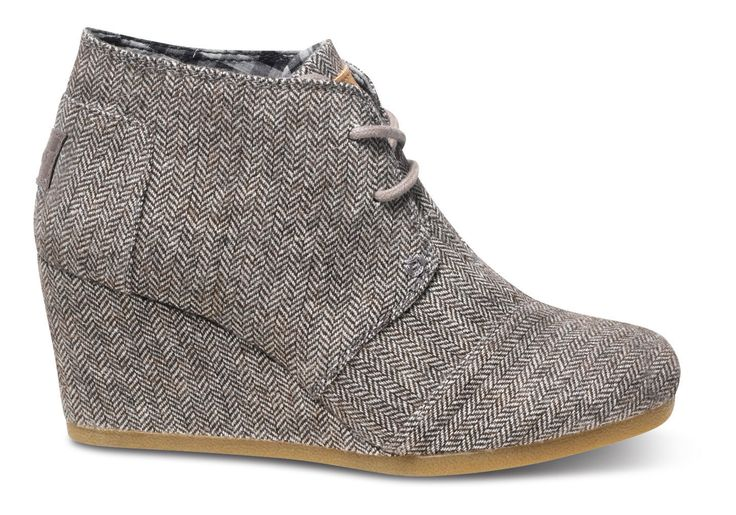 Toms Brown Herringbone Women's Desert Wedges