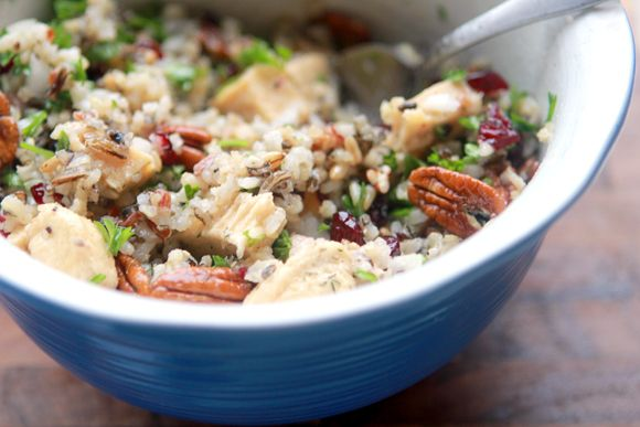 Maple dill chicken and wild rice salad with cranberries and pecans!