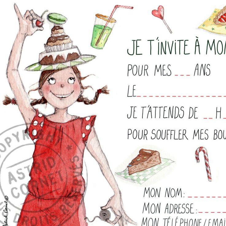 8 cartes d'invitation illustrée pour un anniversaire de