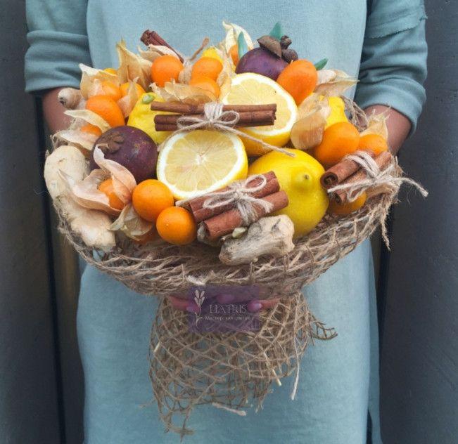 Букет подарочный из фруктов своими руками 39