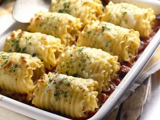 Chicken and Cheese Lasagna Rolls | Recetas | Pinterest