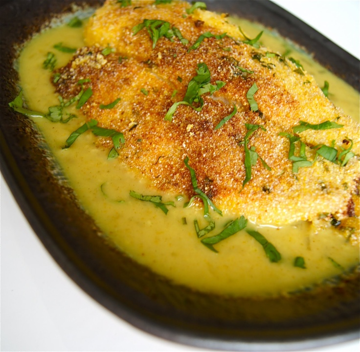 Cornmeal Crusted Tilapia in Coconut Curry Sauce