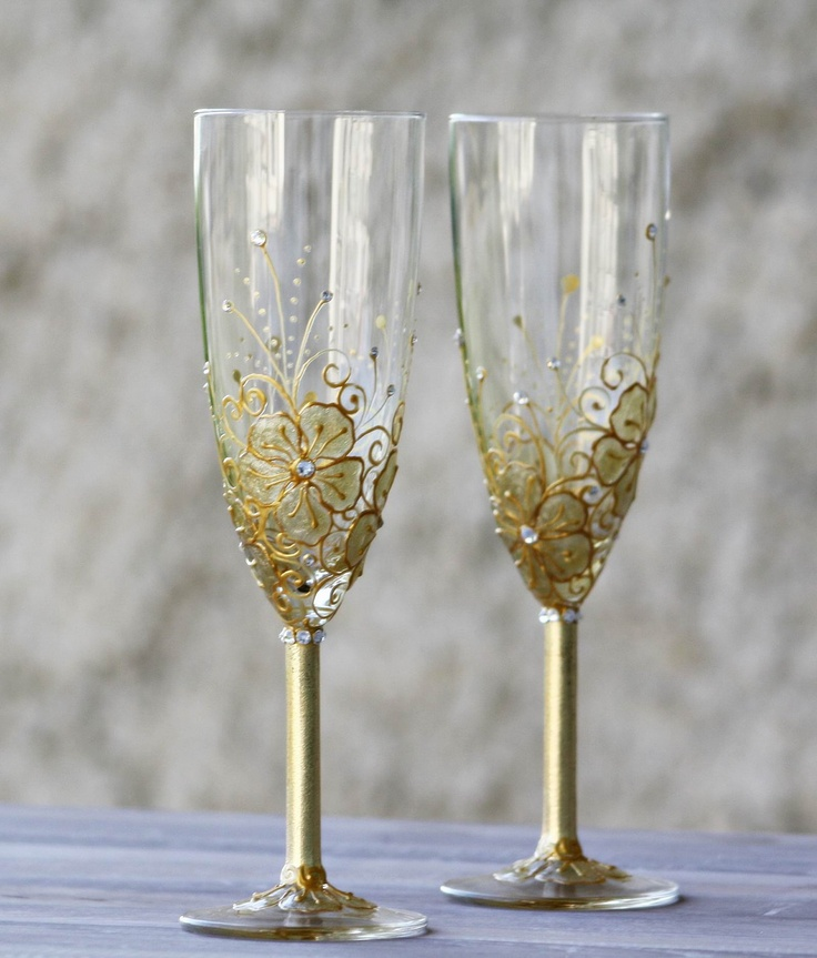 Wedding Champagne Flutes Hand Painted Golden Flowers Swarovski Crysta