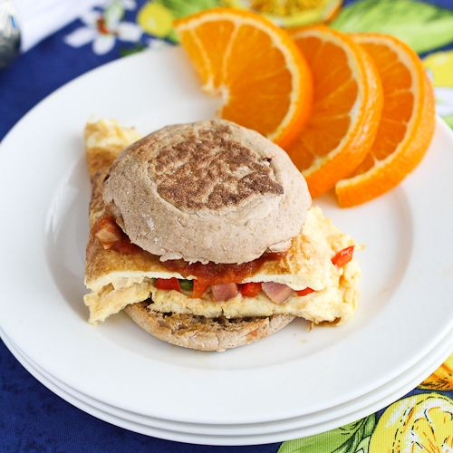 Western Omelet Breakfast Sandwich With Ham, Peppers & Salsa Recipes ...