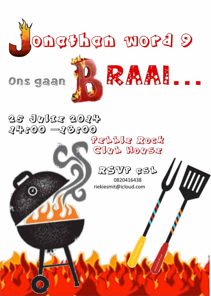 BBQ invite Boys Birthday   Braai Party for Boys   Pinterest