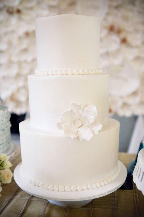Simple white wedding cake | Wedding. | Pinterest