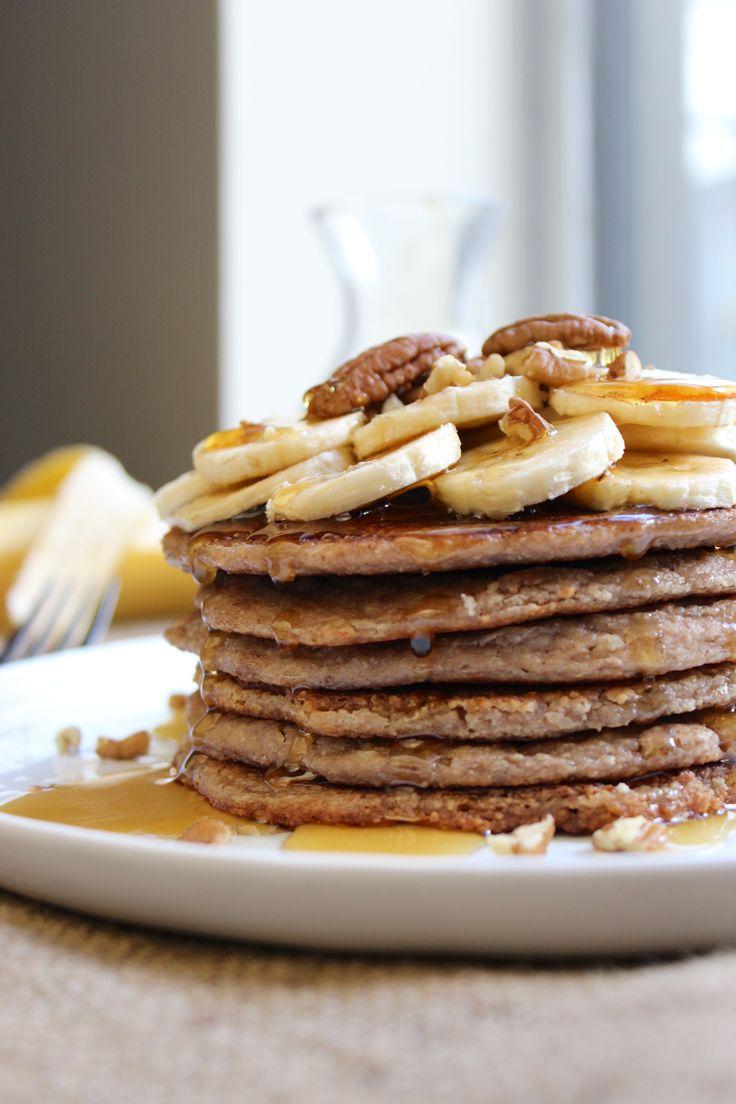 Banana Pecan Pancakes vegan and gluten free - oat flour