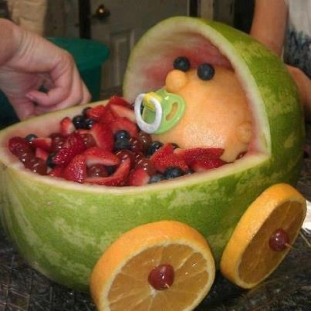 baby carriage fruit salad baby shower food and cakes pinterest