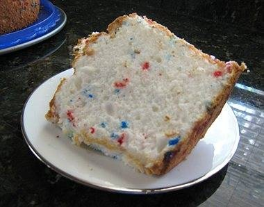 Red, white, and blue sprinkles make this angel food cake a great light ...