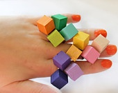 Neon Bright Color Wood Geometric Ring
