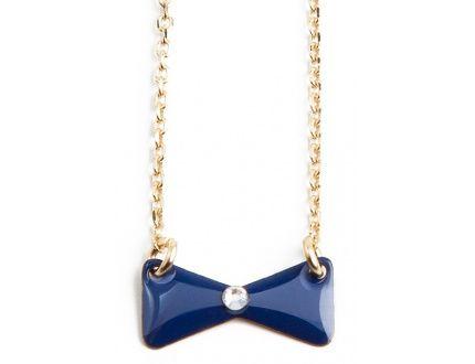 Hop Hop Hop navy bow necklace