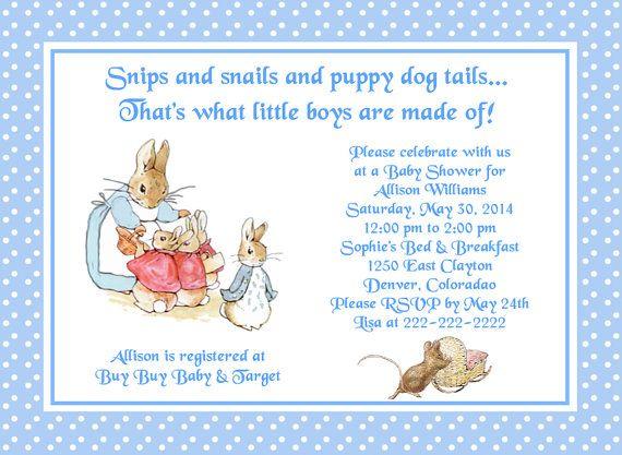 beatrix potter peter rabbit polka dots baby shower invitation