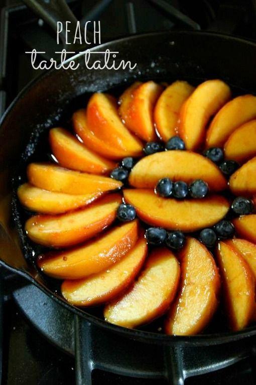 Peach tarte tatin via living tastefully   Recipes/ food   Pinterest