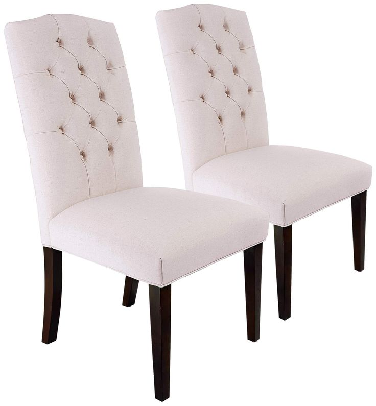 natural linen tufted dining chairs