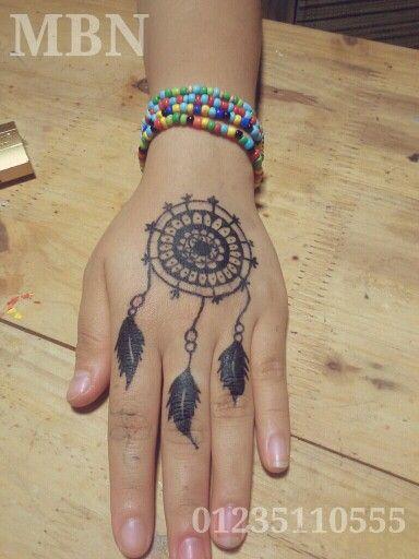 dream catcher henna tattoo hand