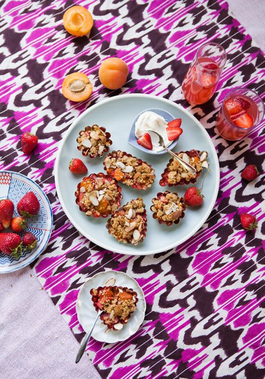 early summer recipe apricot almond amp strawberry crumble recipes from ...