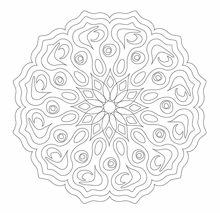 Complex Colouring Pages : Complex mandala colouring pages