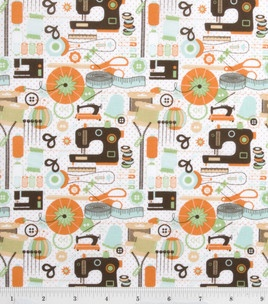 Novelty Quilt Fabric-Sewing Machines On Dots