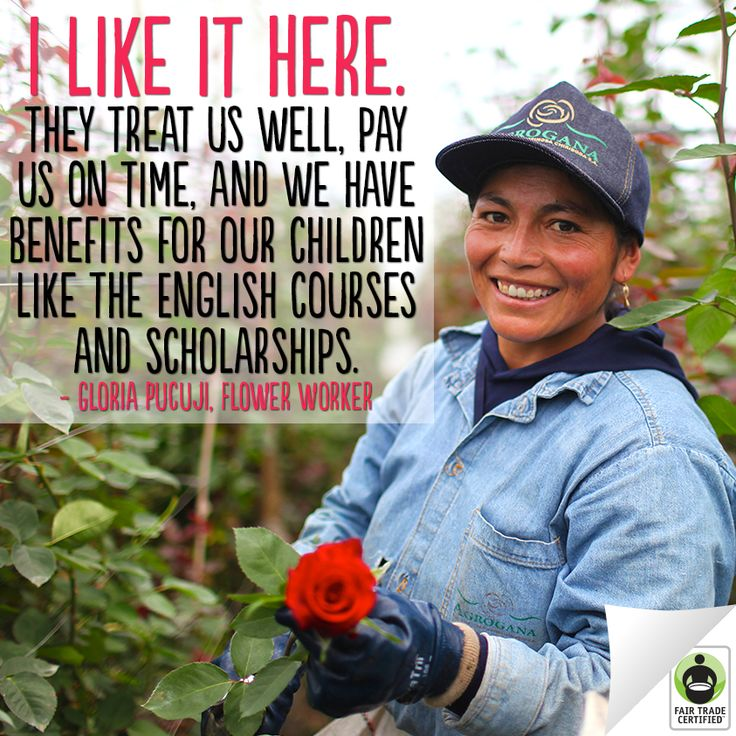 Flower workers like Gloria can build better lives for their families when you choose #FairTrade. #flowers #roses #empowerment #improvinglives