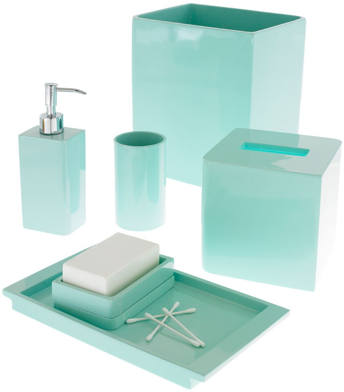 Light blue bathroom accessories lacca light blue bath for Aqua colored bathroom accessories