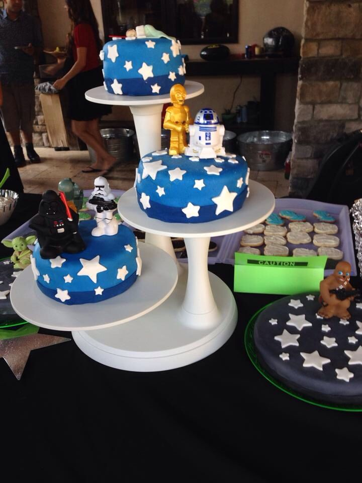 star wars baby shower cake with fondant icing perfect for a boys