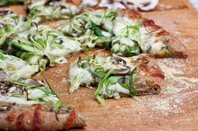 Shaved asparagus and mushroom pizza
