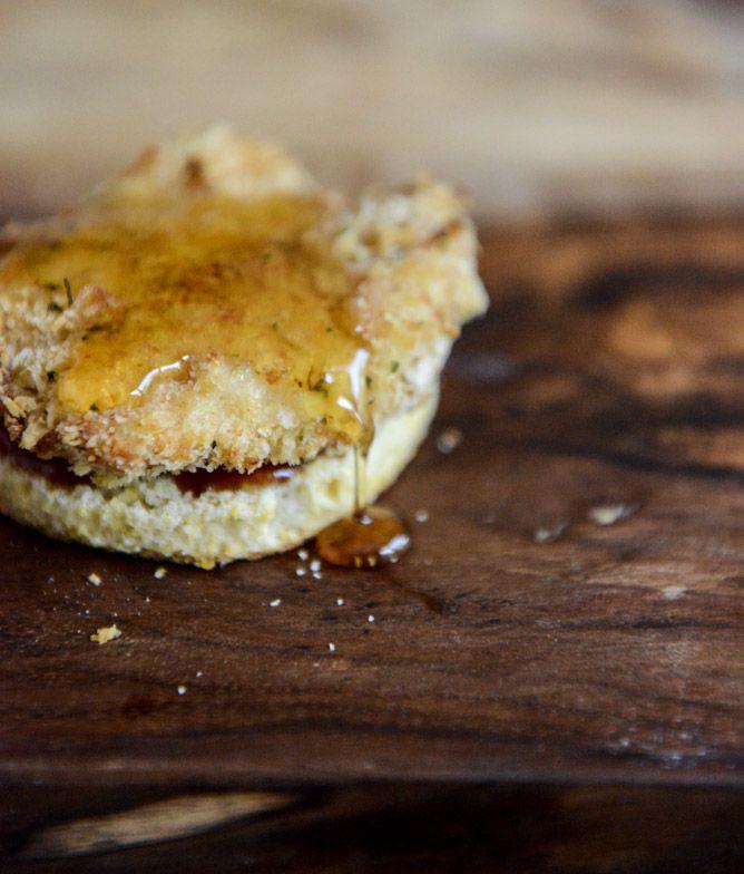 Crispy Buttermilk Baked Chicken + Corn Bread Biscuit Sliders | Recipe