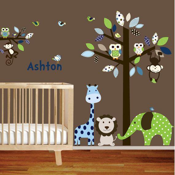 Giraffeelephantmonkey nursery wall decal sticker by wallartdesign, $165.00