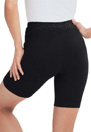 Women's Plus Size Bike shorts in comfy stretch fabric (BLACK,2X