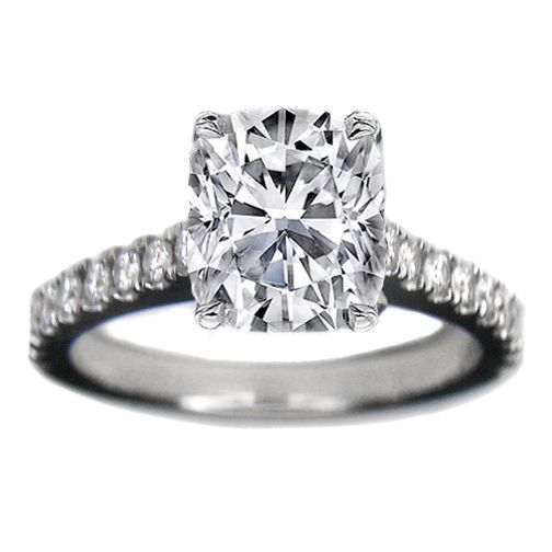 Cushion Cut Diamond Cushion Cut Diamond In Cathedral Setting Rings
