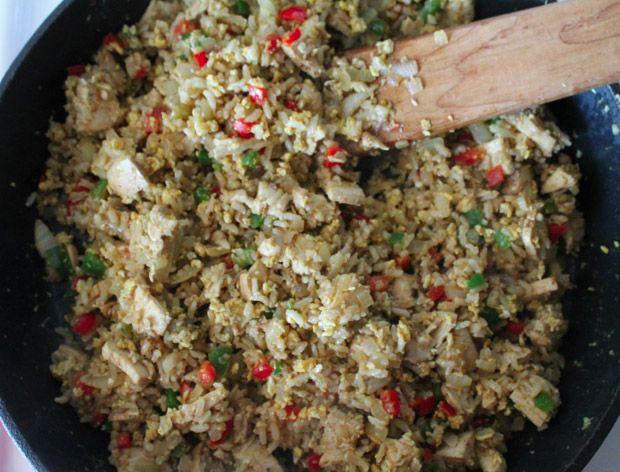 Garlic Chicken Fried Brown Rice Recipe — Dishmaps