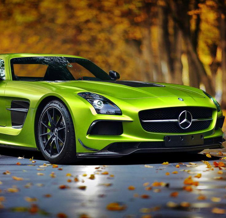 Lime green mercedes benz sls carflash mercedes benz for Mercedes benz green
