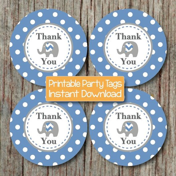 Baby Shower Birthday Party Thank You Favor Tags Elephant Theme by ...