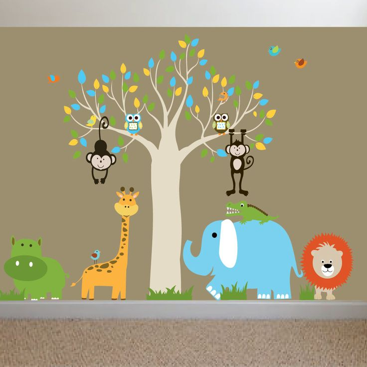 On sale jungle safari baby nursery wall decal sticker mural for Baby jungle mural