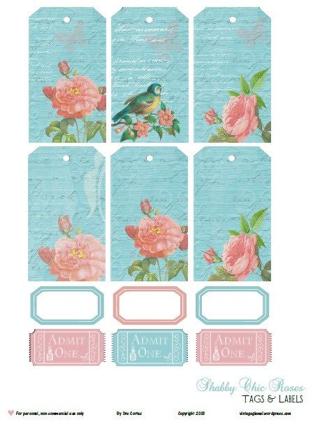 Free Printable Download – Shabby Chic Roses Tags and Labels