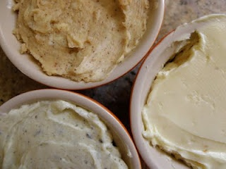 flavored butters: chipotle-honey, sweet-spiced and roasted garlic