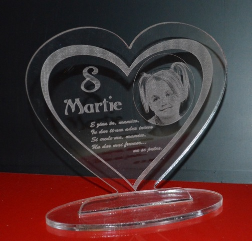 8 Martie - mother day gift/cadou de ziua mamei- gravura si fotogravura plexiglass