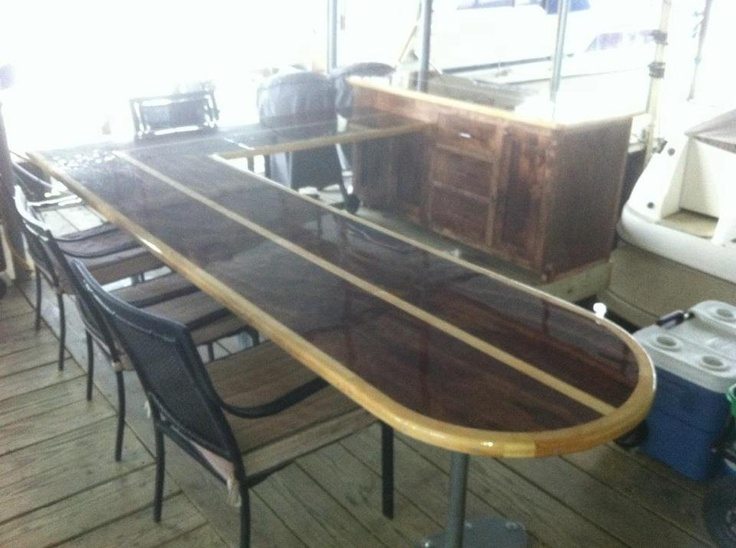 Surf board counter top custom made furniture pinterest for Surfboard bar top