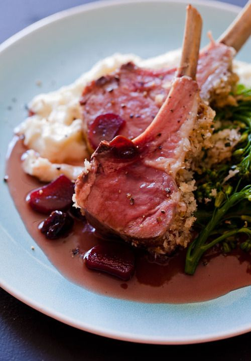 Roasted rack of lamb with a rhubarb and sour cherry gastrique from spoon fork bacon