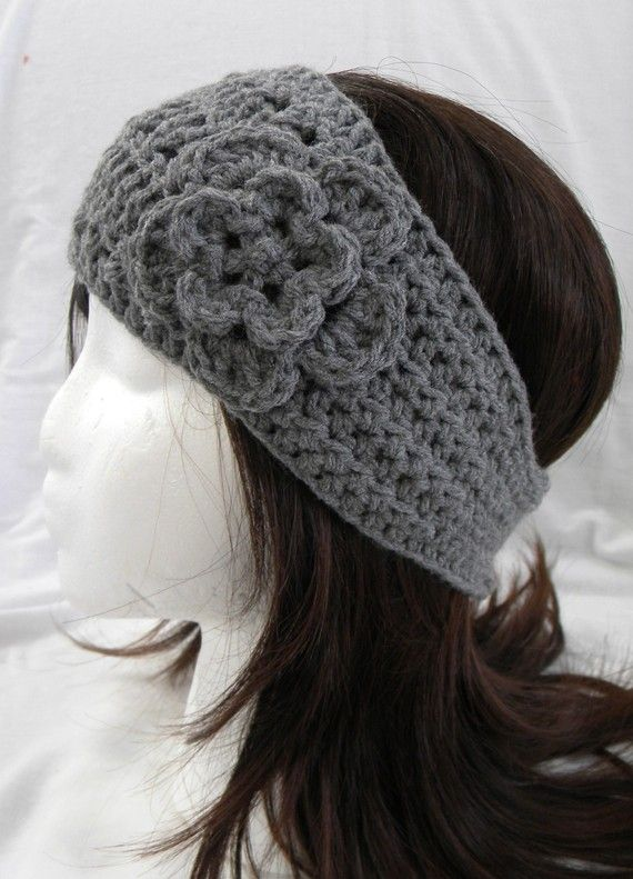 Crochet Hair Walmart : Crocheted Flower Headwrap in Heather Gray by CrochetNouveau, $13.50