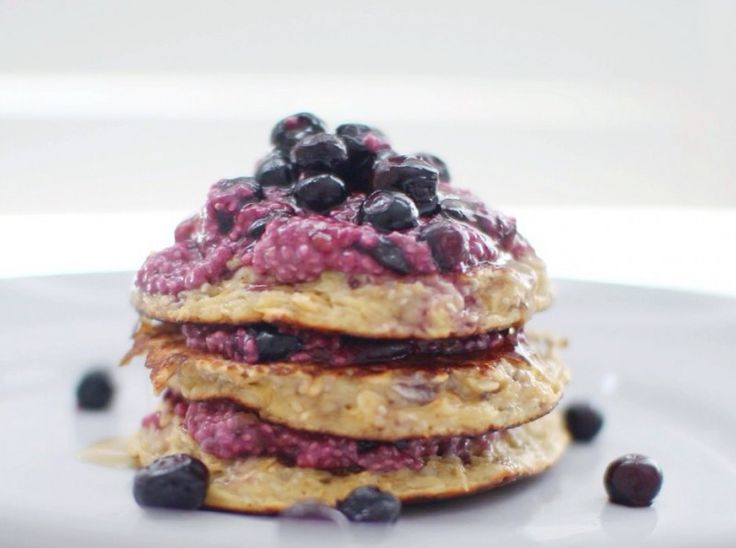 Guest Post: Coconut Oat Pancakes with Blueberry Chia Compote via Not ...