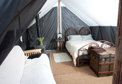 Inside The Wall Tent Bed Couch Camp Star Pinterest