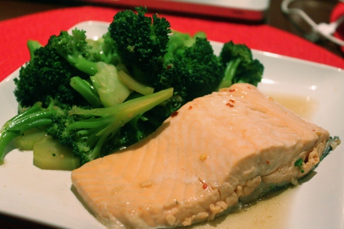 Ginger-Soy-Poached Salmon Fillets with Garlic & Chili Broccoli
